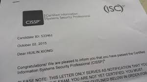 Passed Cissp Exam On 2nd October 2015 Xiong Hui Lin S Personal Page