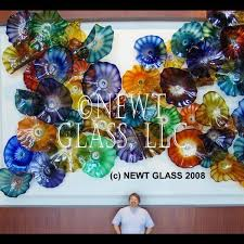 california lobby blown glass wall art plates