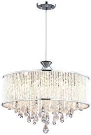romantic drum crystal chandelier white shade in with crystals