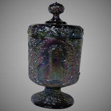 fenton amethyst carnival glass lidded candy dish the little brown sarafina s ruby lane