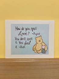 Love Card Winnie The Pooh And Piglet New Baby Card How Do You Spell Love Quote