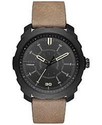 mens watches macy s diesel men s machinus nsbb light brown leather strap watch 46mm dz1788