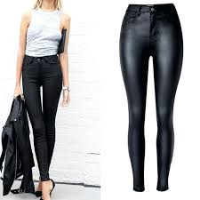 faux leather pants nice top vogue women clothing slim high waist motorcycle models black coated red faux leather pants