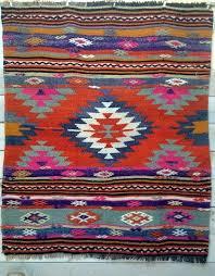 orange and indigo diamond vintage rug by turkish kilim rugs for