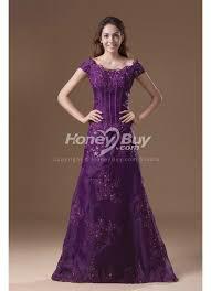 sleeves appliques scoop neckline purple wedding dress for mother