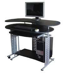modern silver metal based computer desk with full bull nose edge profile top and oval keyboard black computer desks