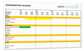 2018 Marketing Plan Calendar Template Napkin Marketing