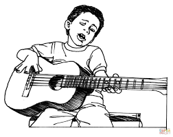 Small Picture Boy Plays Guitar coloring page Free Printable Coloring Pages