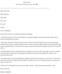 Advertising Sales Manager Cover Letter Example Icover Org Uk