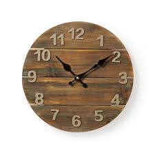 nedis rustic wooden distressed wall clock 30cm diameter for kitchen living room
