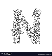 letter n coloring book for s vector image