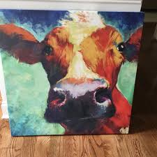 big cow canvas wall art