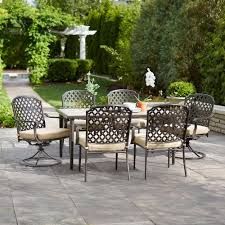 hampton bay marysville 7 piece patio dining set with beige