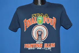 Final Four T Shirt Design Vtg 80s Fighting Illini 1989 Ncaa Final Four Basketball Blue T Shirt College S Funny Free Shipping Unisex Casual Top