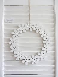 Tür Kranz Blumen Kranz Zum Hängen Weiß Holz Fenster Deko 25cm Shabby