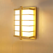 Modern Square Wall Sconce Japanese Led Wooden Wall Lamp Bedside