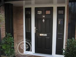 front door window coveringsElegant Black Composite Front Door With 2 Side Window Panels