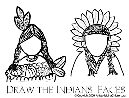 Small Picture Thanksgiving Indians Coloring Pages Printouts Draw Indians Faces