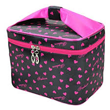 hoyofo toiletry cosmetic storage large travel makeup bag with sweet bow handle black
