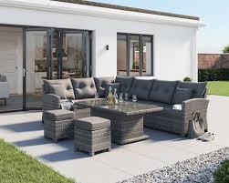 rattan garden corner sofa dining set