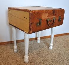 Suitcase Nightstand old and vintage brown leather suitcase nightstand with white 3086 by guidejewelry.us