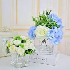 silk roses hydrangea artificial flowers vases with flowers centerpieces glass vase for wedding decorations home table blue white decorative glass vases and