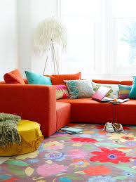 Living Room Rugs Modern Bright Living Room With Floral Rug Red Sofa And Colorful Pillow