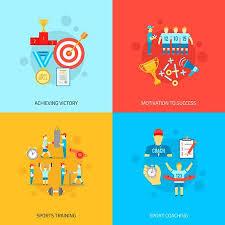 Coaching Design Concept Set With Achieving Victory Motivation Adorable Sports Success Motivations