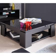Table basse carrée bois Noir moderne QUADAL - Univers Salon