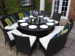 large round dining table benches and
