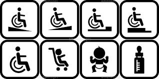 車椅子でのスロープと段差とベビーカーと赤ちゃんとミルクのピクトグラム