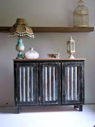custom made rustic bar cabinet with reclaimed corrugated metal inserts