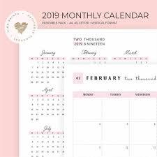 Week At A Glance Calendar Template 2019 Calendar Wall Year At A Glance Calendar Template Yearly Planner Kit