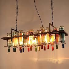 lampe industrial american industrial art vintage glass wine bottle chandelier lamp nordic re modern dining room