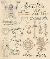 Sada Symbolů Pro Znamení Zvěrokruhu Váhy Nebo Váhy Vektory Z