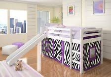 bunk bed with slide and tent. Alexis White Loft Bed With Slide And Purple Zebra Tent Bunk