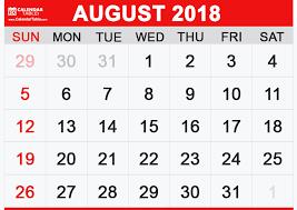Calendar Free Downloads Printable August 2018 Calendar Calendar Table