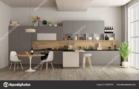 Modern Kitchen Dining Table Island Rendering Stock Photo