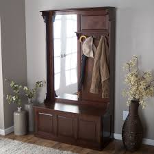 furniture dark brown wooden entryway bench with coat rack umbrella and clothing hooks combined with