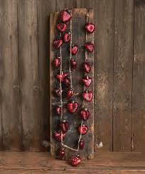red mercury glass heart ornament garland