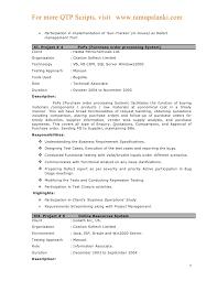 Manual Testing Fresher Resume Samples New Qtp Sample Resume For