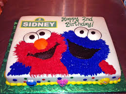 2nd Birthday Cake Cookie Monster Elmo Kids Sesame Street Boys