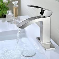 best rated bathroom sink faucets. purelux gibbon contemporary design one handle bathroom sink faucet with deck plate, cupc nsf lead free certified, brushed nickel 10 year warranty best rated faucets