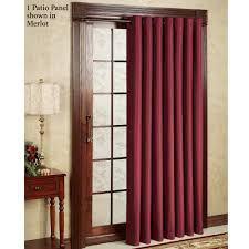 interior red dry window curtains with brown rod plus brown wooden door having transpa glass