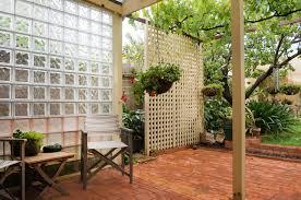 backyard with glass block wall