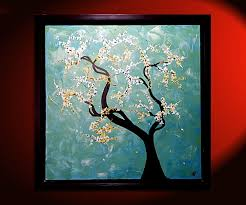 turquoise tree painting cherry blossoms original art framed painting by nathalie van 27x27 mails quickly watch