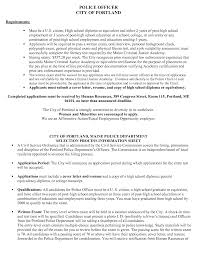 Effective Police Officer City Of Portland Resume Cover Letter And