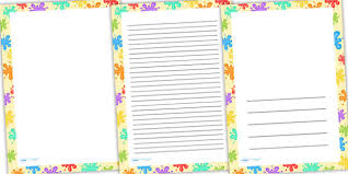 Free Coloured Splats Page Borders Writing Templates