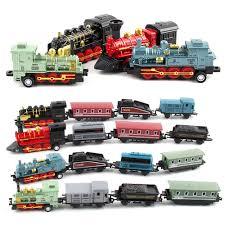 Steam Train Set Railway Vehicles Toys <b>Mini</b> 4/5Pcs Diecasts <b>Metal</b> ...