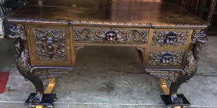 r j horner oak griffin partner s desk with carved sides